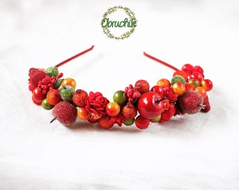 Headband with bright fruits and berries Fruit headpiece Fairy fruit crown Bridal Shower Party Adult fall headband