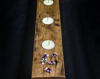Recycled Hardwood Linear Candle Holder