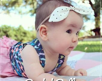 Baby, toddler, newborn, girls nylon white polka dot bow knot headband accessories