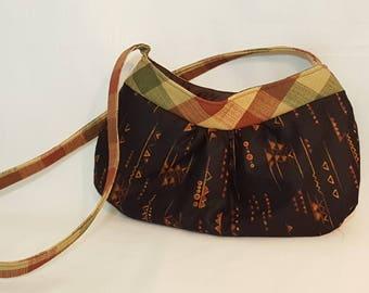 Shoulder bag - Handmade bag - Brown shoulder bag - Small shoulder bag - Hobo style bag - Aztec print bag - Hobo bag - Purse