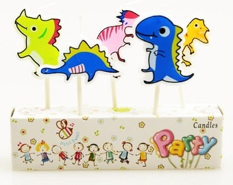 Cute Dinosaurs Candles 5pcs |Animal candles|Centerpiece|Cake toppers|Jurassic park|Prince boy 1st first birthday|Baby shower|Kid celebration