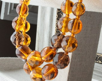 Vintage CZECH Glass Bead Necklace, Multi Strand , Mid Century, Faceted Beads, Smooth Beads, TheKeepDrawer