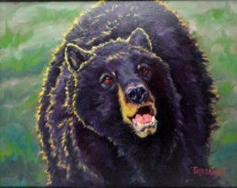 "Original Oil Framed Artwork ""Grizzly Growl"""