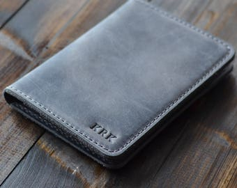 Leather Passport Wallet, Leather Travel Wallet, Passport Wallet, Travel Wallet, Distressed Leather Passport Holder,Passport Cover, Rock Gray