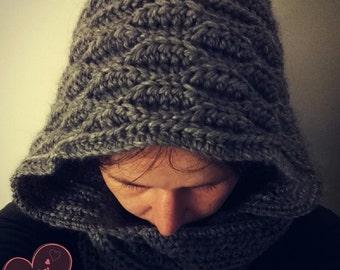 Crochet Hooded Scarf: Rajalla, PDF PATTERN.