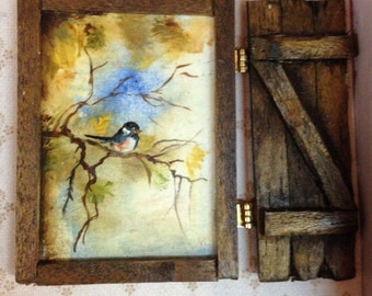 Shutter with bird 1:12. Hand painted furnitures