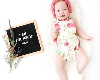 Pink Floral Romper // Baby Girl Romper // Floral Romper // Halter Romper // Shorts Romper // Sunsuit // Bodysuit