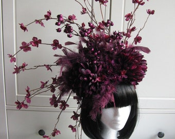 "Beautiful Spring Headpiece ""Livia"" Feathers purple aubergine berrys Fairy Flower Headdress wedding Statement Fascinator Fotoshooting"