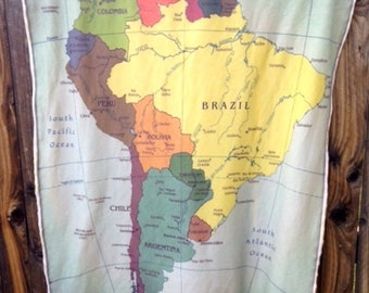 SOUTH AMERICA map baby blanket- shoulder wrap- wheelchair lap blanket- organic cotton interlock knit and minky- ready to ship- 32 by 44 inch