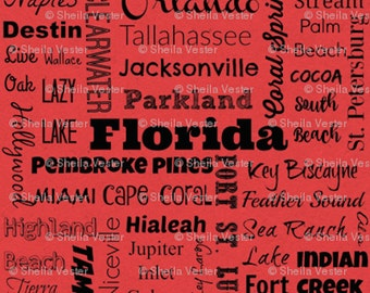 Florida Cities fabric - Fat Quarter - red and black - grey and black