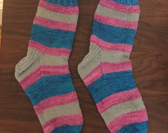 Trans Flag Striped Hand Knit Socks