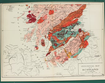 Antique Geological Map of Southern Scotland. Antique 1904 Colour Map by Edward Stanford, Bright Colours