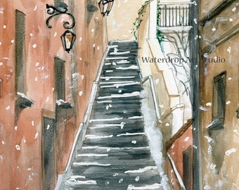 "Art Print; Watercolor Painting print ; Snowy Street; Winter theme Art; Italy; Architecture; Urban Landscape titled ""Snowy Stairs"""