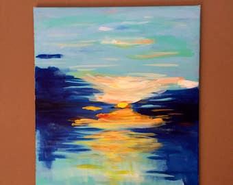 "Sunrise Sunset Painting. Original Abstract Painting. Hand Painted Abstract. Water Abstract. 16""x20"""