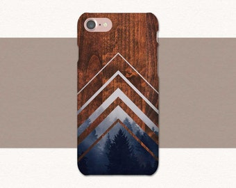 Chevrons Wood Forest Trees Phone Case iPhone 6 Case, 7 6s Plus 5, Samsung Galaxy S7, S6 S5, Edge, Note, Lg G5, LG G6 Nature, Blue, Stripes