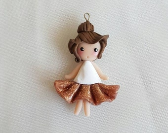 Necklace Pink salmon glitter tutu ballerina doll