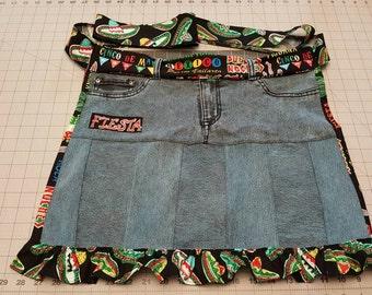 Apron - Fiesta pattern repurposed denim apron.