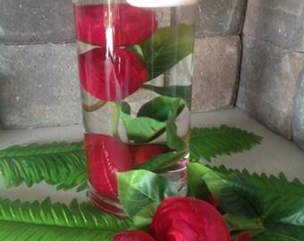 Submerged silk flower centerpiece, 3 Red Ranunculus Silk Flowers for DIY submerged centerpiece,  Ranunculus silk flower  head