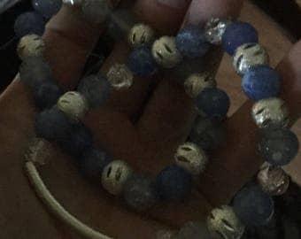 Sea blue stack bracelet