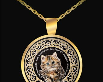 Cat necklace - Cat quotes necklace - Cat lover -  World Needs Love and a Cat Gold Round Pendant Necklace - Gift idea