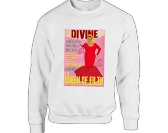 Divine the Drag Queen - The Queen of Filth Sweater - Drag Queen, Ruapul, John Waters, Pink Flamingos, Gay Gift, Punk, LGBT