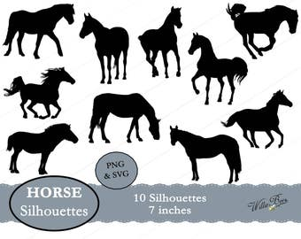 Horse Silhouette Clip Art - 7 inches - PNG & SVG files - Horse Images - Scrapbooking - Horse Svg - INSTANT Download