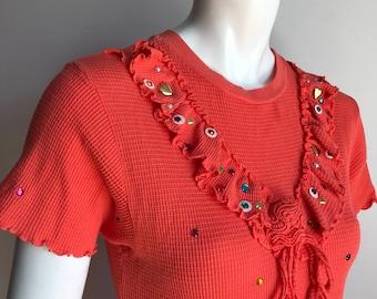 Miley Cyrus's Jm Ellenville 10 Orange Towell Studded Crystal Dress Tunic