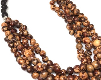 Acai Necklace, Brown Seed Necklace, Chunky Bead Necklace, Brown Beaded Necklace, Multi Strand Necklace, Layered Necklace C009