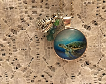 Sea Turtle Glass Pendant Charm Necklace
