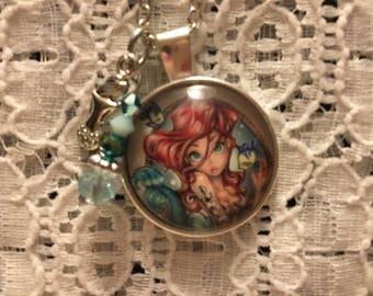 Ariel Charm Necklace/Little Mermaid Charm Necklace/Little Mermaid Jewelry/Tattooed Ariel/Ariel Pendant/Ariel Jewelry/Mermaid Jewelry