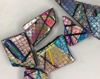Dichroic Glass Fused Glass Magnets (Set of 5)