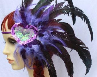 Purple Love Sequin & Feather Headband  Festival Boho Hippy Hippie Headdress
