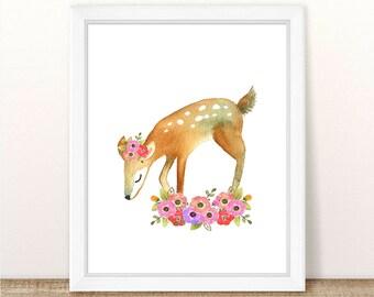 PRINTABLE Floral Deer Nursery Art. Woodland Deer Art. Teal Floral Nursery Decor. Cute Deer Print. Deer Nursery Art. Pink and Teal Decor 8x10