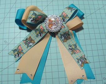 Tom and Jerry Style Fancy Stacked Ribbon Hair Bow