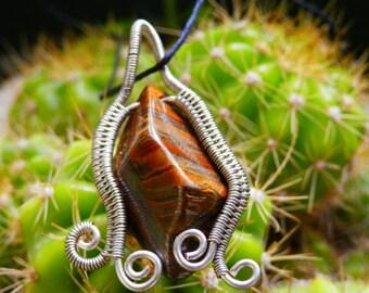 Tigeriron stone wire wrapped pendant handmade