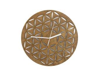 Flower of Life Wall Clock, circle wall clock, laser cut clock, wall clock, geometric clock, circle clock, handmade, laser cut wood