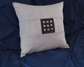 "Light gray pillow 16""x16"" with corduroy center"