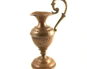Copper Tone Candle Holder Vintage, Copper Colored Metal Candleholder, Unique Handle