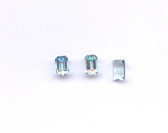 6mm x 4mm Aquamarine emerald cut rectangle gemstone