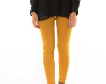 Legging ochreous / dark yellow legging / tights for long legs