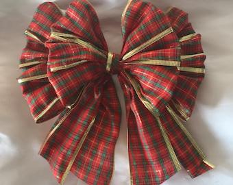 "Large 8"" tartan bow"