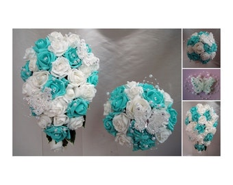 Wedding Flowers Tiffany Blue & White wedding bouquets with butterflies, Brides, Bridesmaids, Flowergirls etc