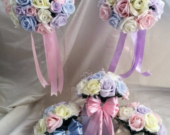 Wedding Flowers Light Pastel colours  & Ivory wedding bouquets, Brides, Bridesmaids, Flowergirls etc