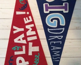 Boy or Girl Personalized Embroidered Pennant Flag