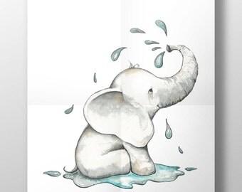 Elephant nursery decor, elephant wall art print, children's wall art, elephant print, elephant room decor, kids room art