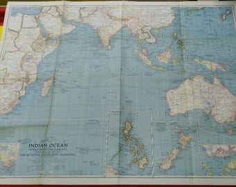 map National Geographic Indian Ocean AUSTRALIA, New ZEALAND and MALAYSIA 1941