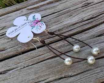Leather & Pearls Beachy Chic Earrings