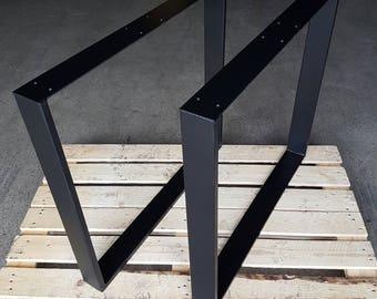 Table base legs black Matt 73-80 cm steel 80-20 1 pair table base