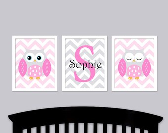 Pink Owl Nursery Art -  Chevron with Baby Name Nursery Wall Art
