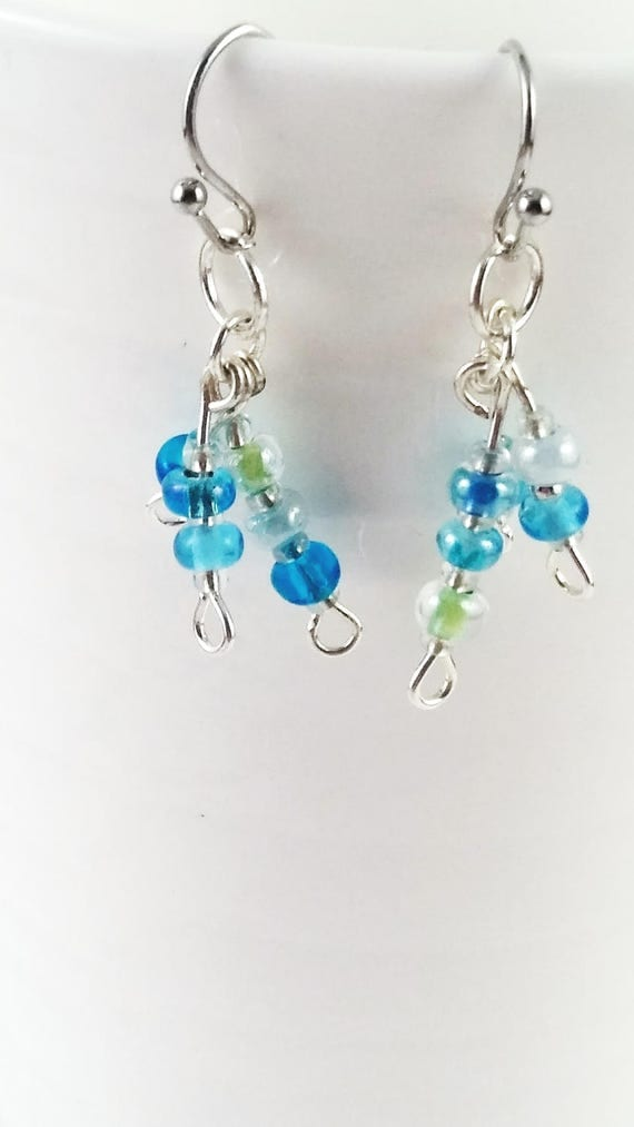 Small blue cluster dangles, Earrings, Drop Earrings, birthday gift, prom jewelry, statement earrings ,mothers day gift, something blue, mom